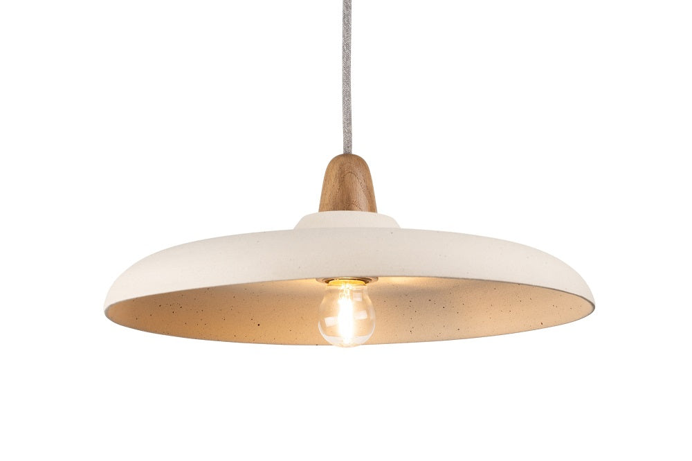 Bas Ceramic and Oak Pendant Light