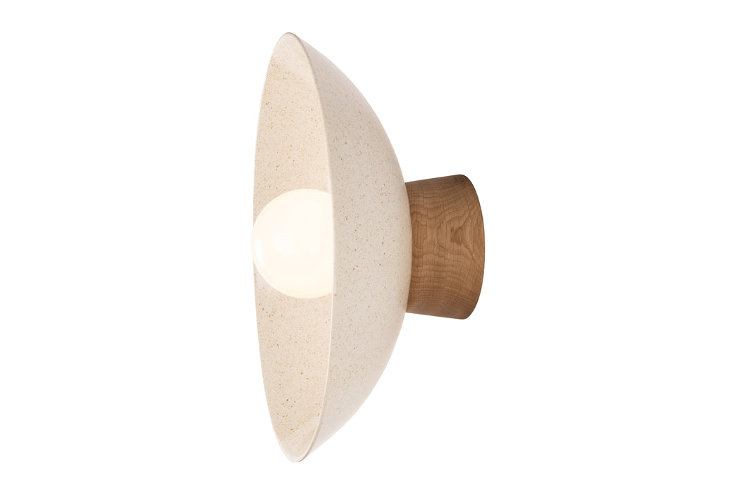 Speckled Cream Dawn Oak and Ceramic Wall Light