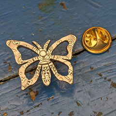 Butterfly Brooch/Pin from Two Shilling Coin