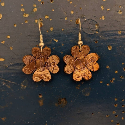 Lucky Clover Half Penny Earrings