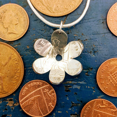 Daisy Flower Pendant from old one penny