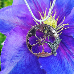 Humming Bird and Hibiscus Coin Pendant