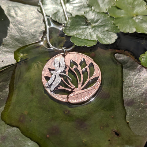 Dragonfly resting on Water lily Coin Pendant
