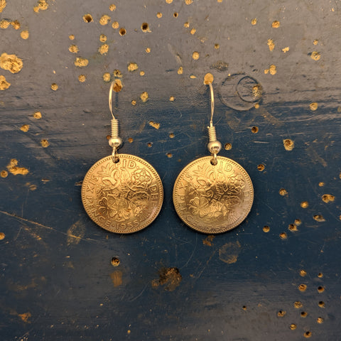 Six Pence Domed Earrings