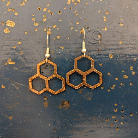 Trio Honeycomb Penny Earrings