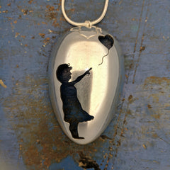 Banksy Girl with a Red Balloon Spoon Pendant
