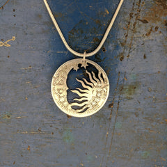 Night and Day Sterling Silver Coin Pendant