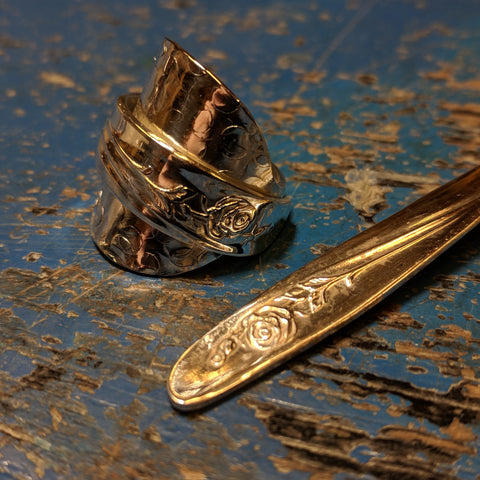 English Rose Teaspoon ring 1950's