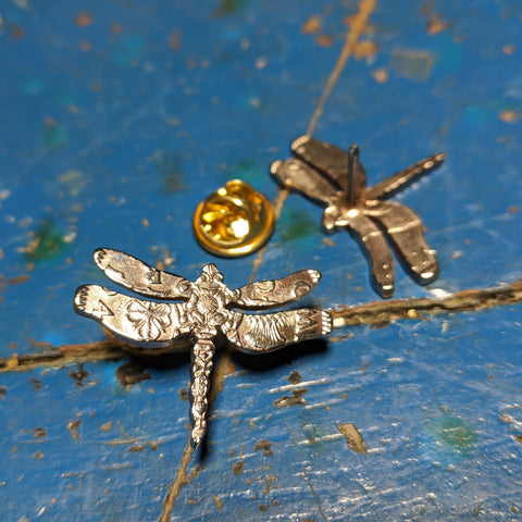 Dragonfly Broach from a two shilling coin.