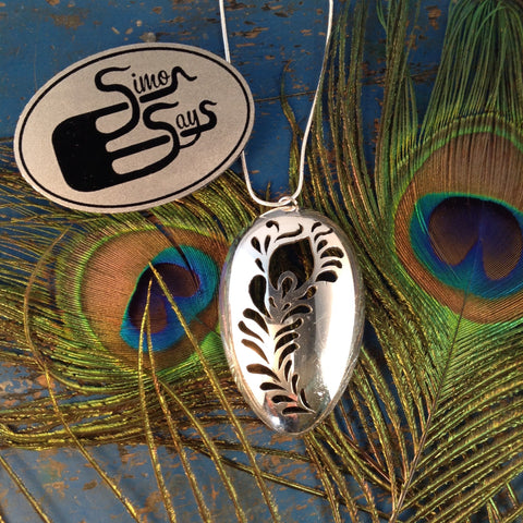 Peacock Feather Spoon Pendant
