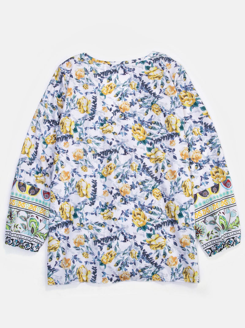 Floral Manches Longues Col V Blouses