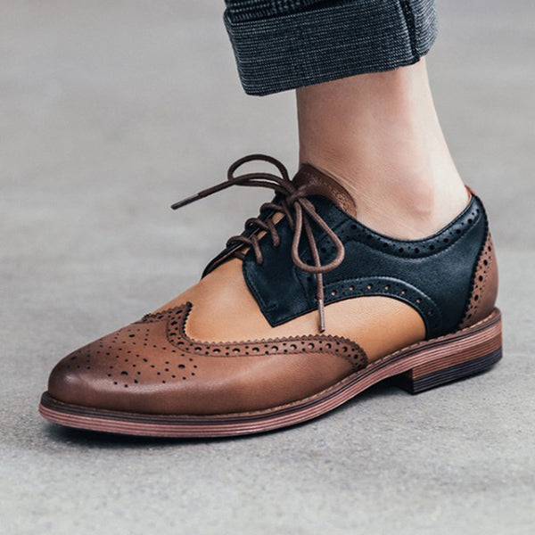 Oxfords Quotidiens en Cuir Véritable à Talon Épais