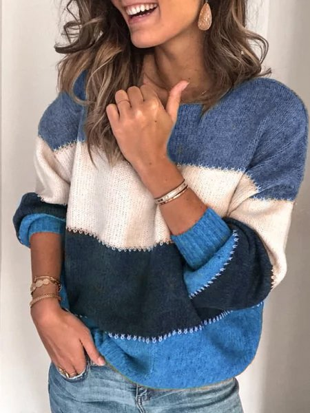 Mode Femmes longues  Colorblock Casual manches Pull