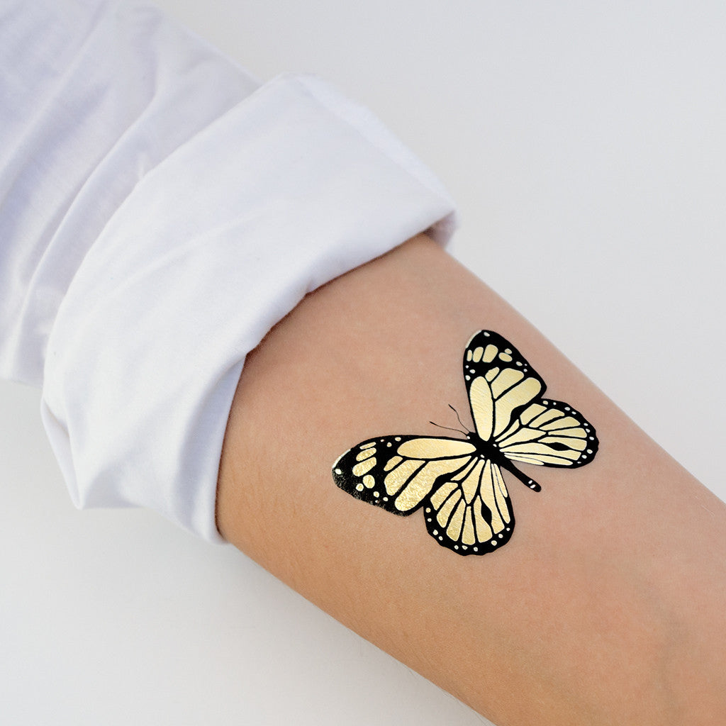 Tattoonie Temporary Tattoos Golden Butterfly