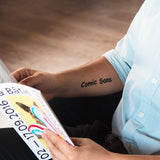 tattoonie temporary tattoos comic sans