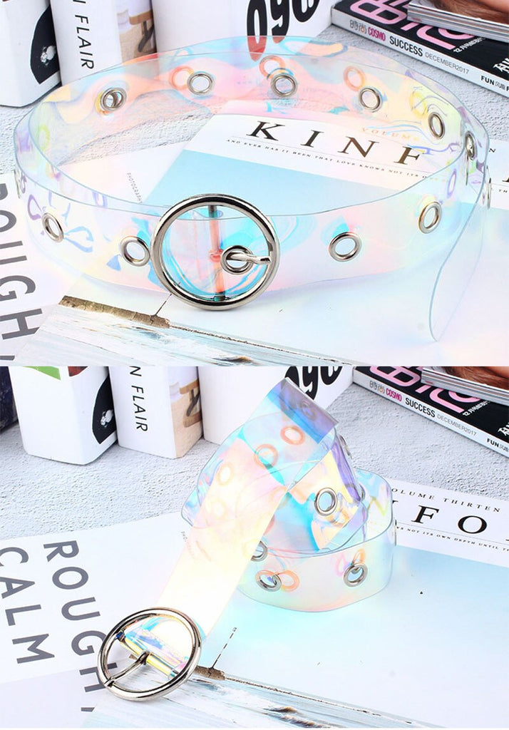 Transparent irisescent belt with holes