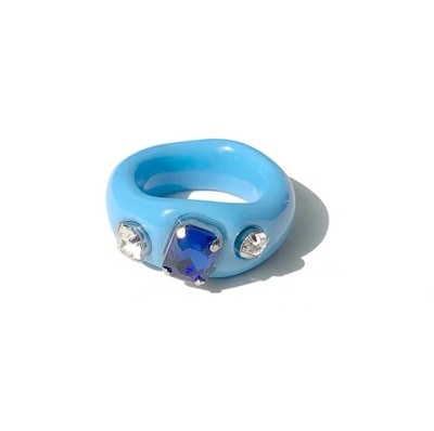 Resin Ring with crystals 2