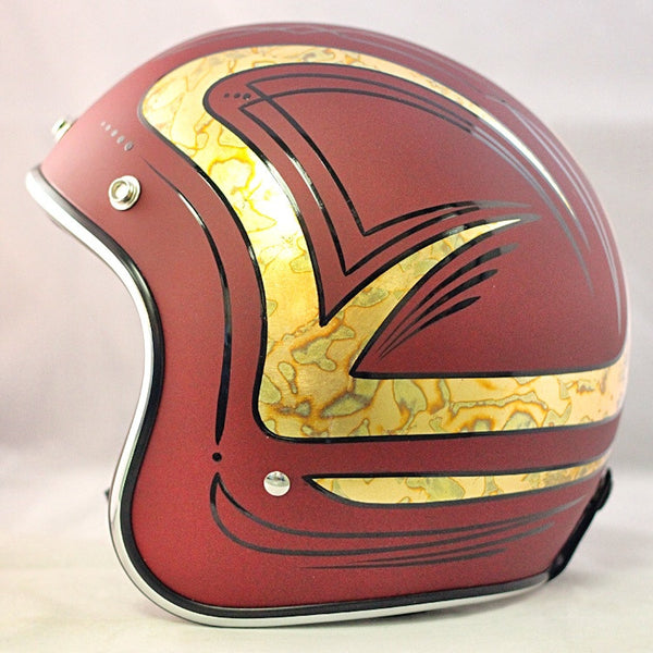 Flat Red Gold Leaf & Pinstripes