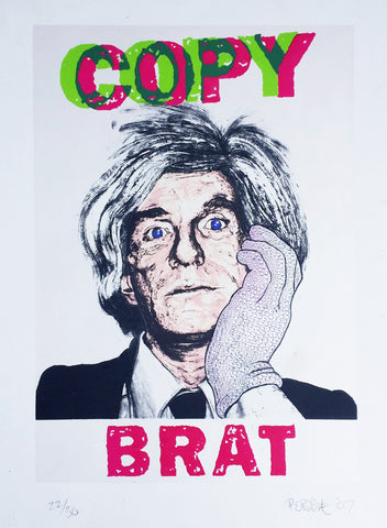 """Copy Brat"" Silkscreen, Faux Diamond Studded Glove"