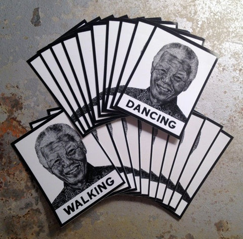 "Nelson Mandela Sticker Pack: ""Walking"" & ""Dancing"""