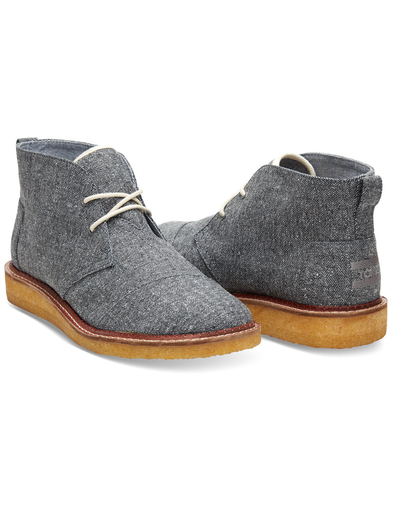 TOMS & THE HILL-SIDE GREY HERRINGBONE TWEED MATEO CHUKKA BOOTS