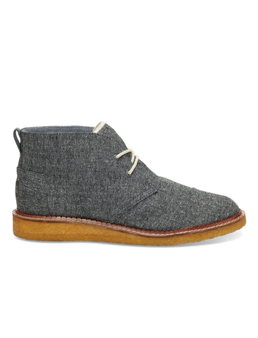 The Hill-Side TOMS & THE HILL-SIDE GREY HERRINGBONE TWEED MATEO CHUKKA BOOTS - M U T I N Y