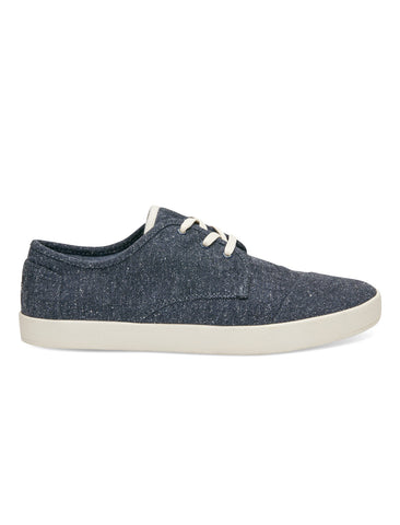 TOMS & THE HILL-SIDE NAVY HERRINGBONE TWEED PASEO SNEAKERS