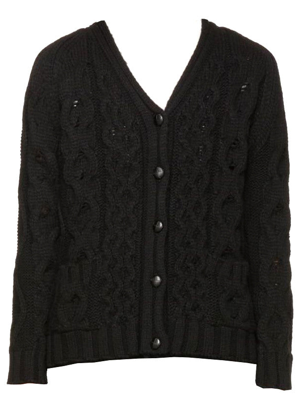 YMC YMC BLACK WOOL CABLE CARDIGAN - M U T I N Y