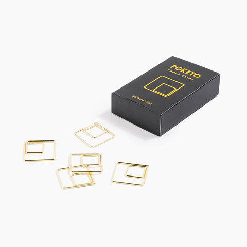 POKETO GOLD SQUARE SHAPE PAPER CLIPS