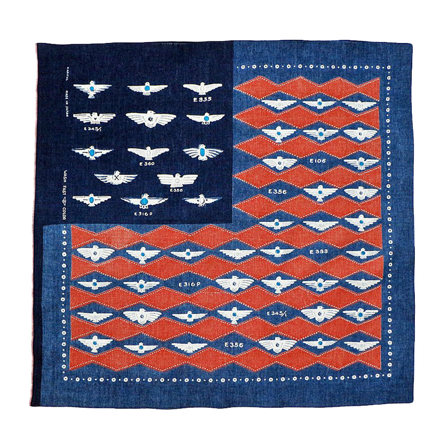 KAPITAL INDIGO RED DISCHARGE DYE FLAG HARVEY SELVEDGE BANDANA