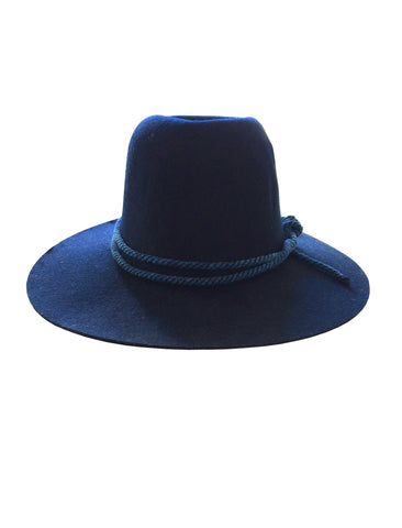 WESTERLIND NAVY FELT HAT WITH INDIGO ROPE CORD