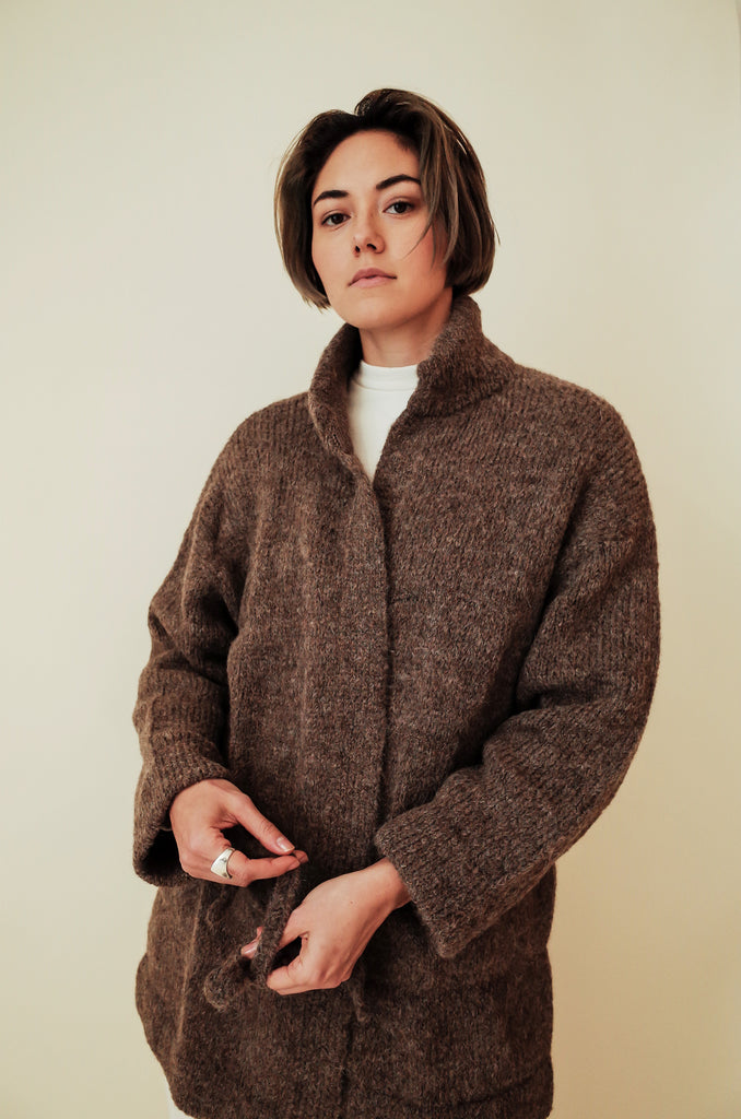 WOL HIDE WALNUT QUILTED CARDIGAN