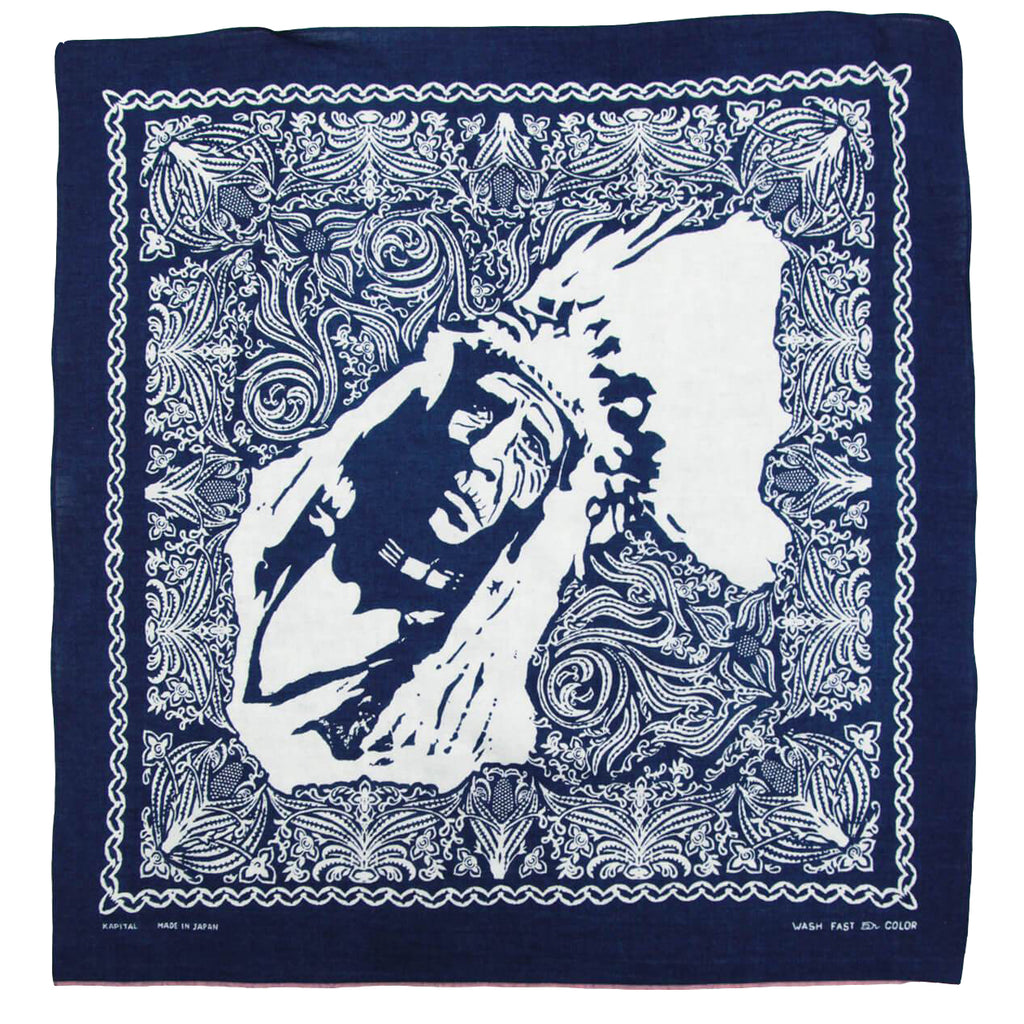 KAPITAL INDIGO DISCHARGE DYE CHIEF SELVEDGE BANDANA