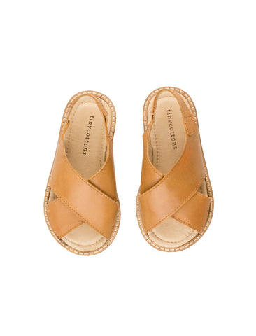 TINYCOTTONS BROWN CREPE CROSSED SANDALS