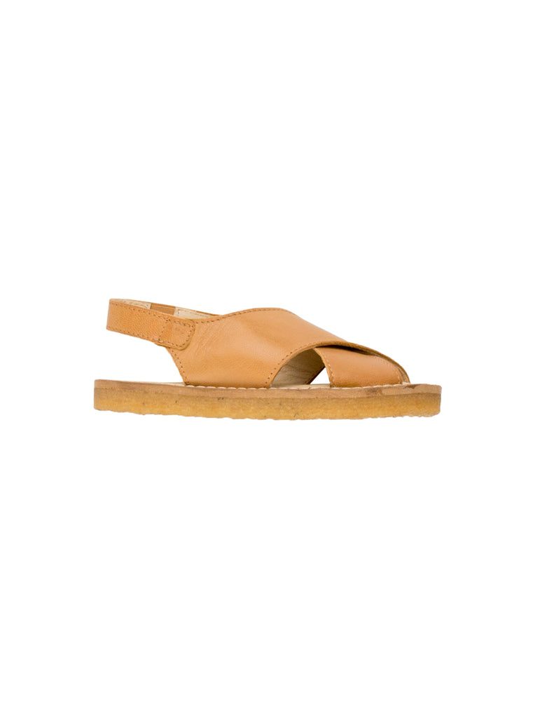 TINYCOTTONS TINYCOTTONS BROWN CREPE CROSSED SANDALS - M U T I N Y