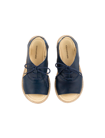 TINYCOTTONS NAVY CREPE LACE SANDALS