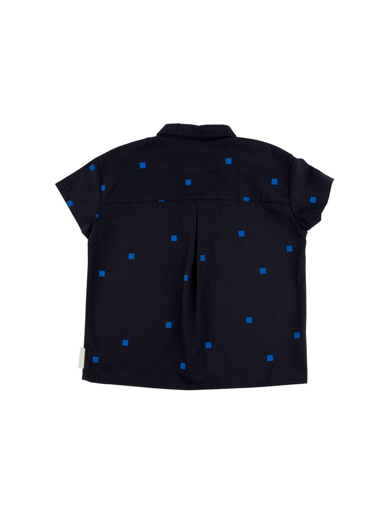 TINYCOTTONS TINYCOTTONS SQUARES DOTS NAVY WV SHIRT - M U T I N Y
