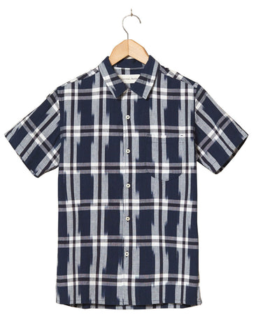 UNIVERSAL WORKS NAVY IKAT ROAD SHIRT