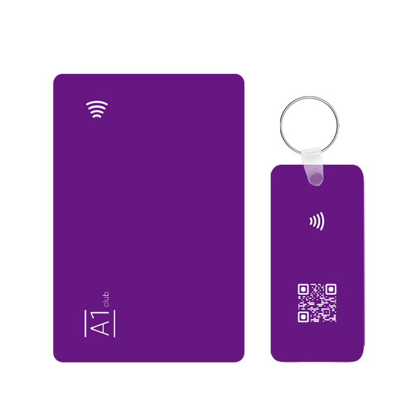 A1 Classic Card & Key Rings - Purple & White