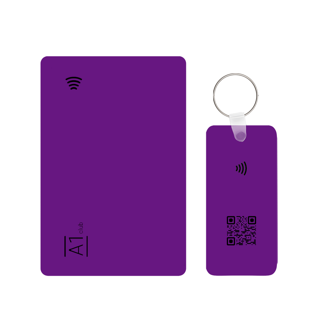A1 Classic Card & Key Rings - Purple & Black