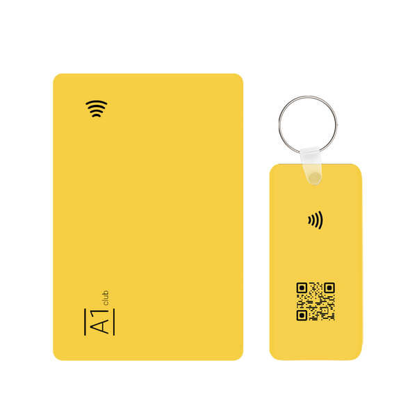 A1 Classic Card & Key Rings - Yellow & Black