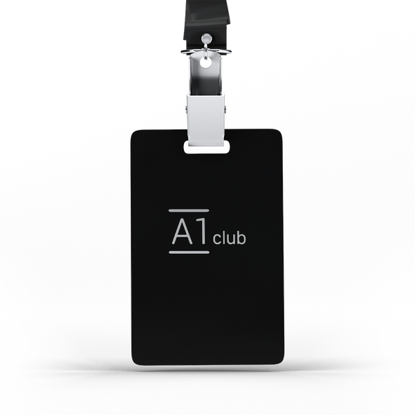A1 Classic Lanyard Card - Black & Silver