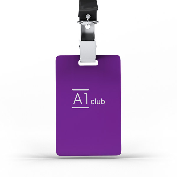 A1 Classic Lanyard Card - Purple & White
