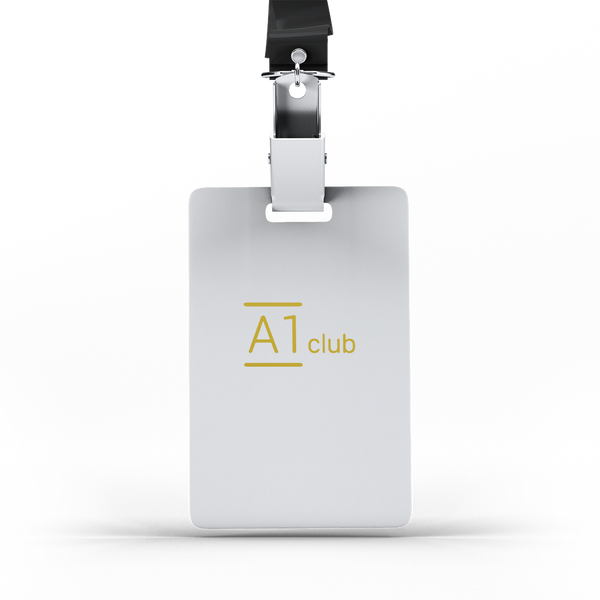 A1 Classic Lanyard Card - White & Gold