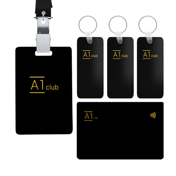 A1 Classic Card & Key Rings & Lanyard - Black & Gold