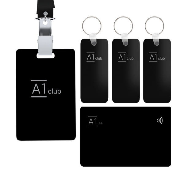 A1 Classic Card & Key Rings & Lanyard - Black & Silver
