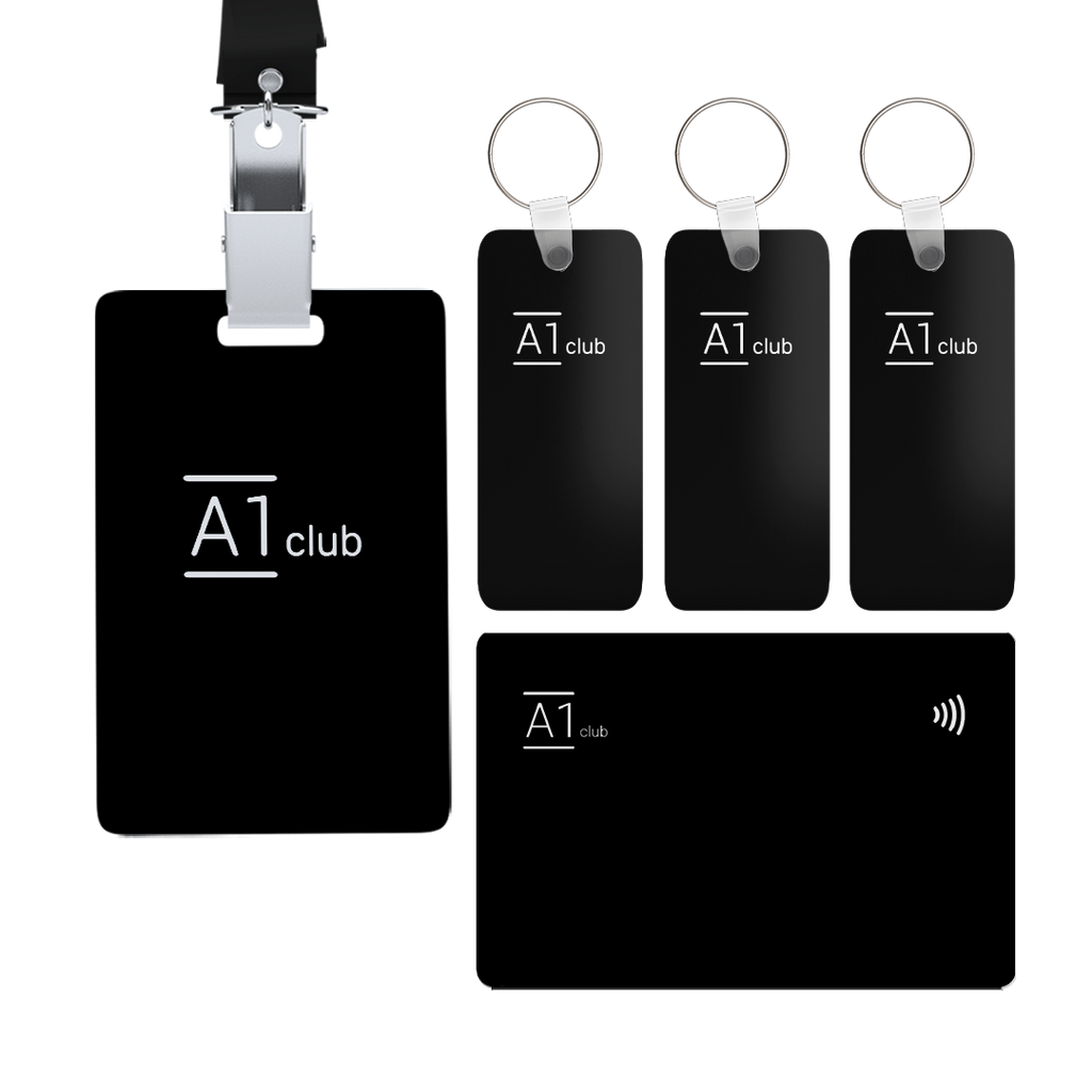 A1 Classic Card & Key Rings & Lanyard - Black & White