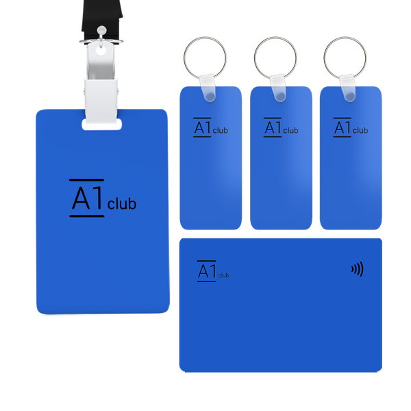 A1 Classic Card & Key Rings & Lanyard - Blue & Black