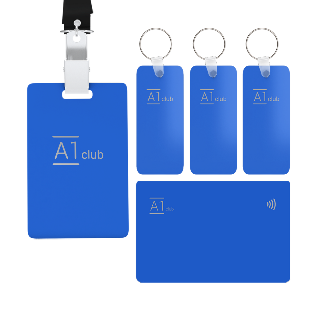 A1 Classic Card & Key Rings & Lanyard - Blue & Silver