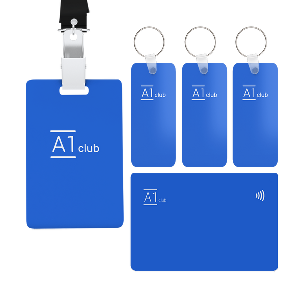 A1 Classic Card & Key Rings & Lanyard - Blue & White